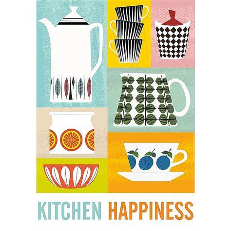 Kitchen Poster Kitchen Happiness Retro Framed Print By Myhaus
