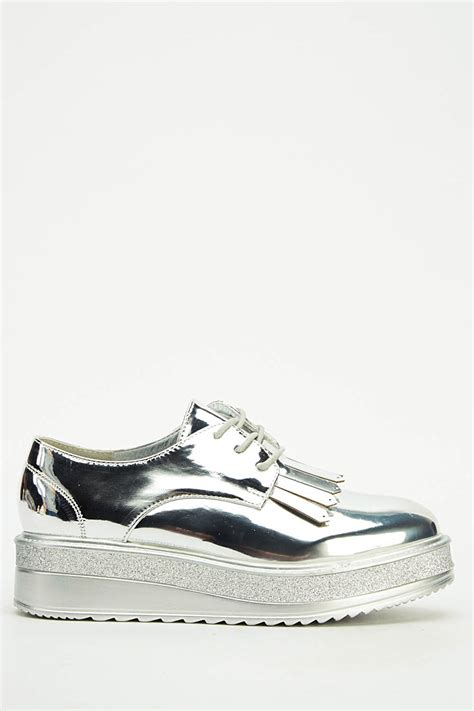 holographic contrast platform shoes just 163 5