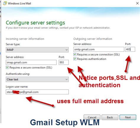 porta imap gmail how to setup windows live mail to access gmail using imap