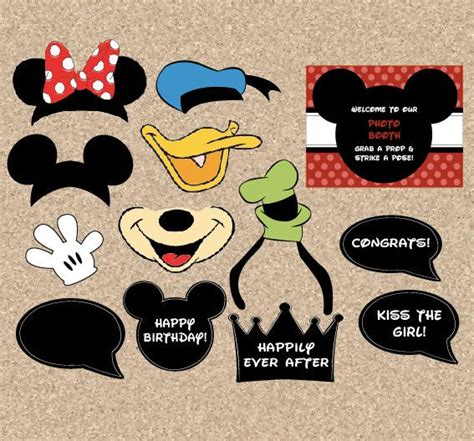 Free Printable Disney Photo Booth Props Template | printable disney photobooth props digital diy mickey