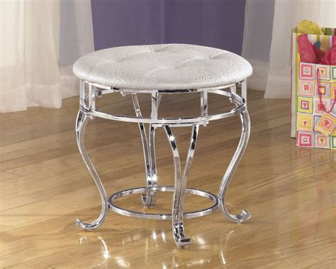 White Leather Vanity Stool by Vanity Stool Chrome White Cushion Seat Faux