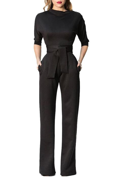 black slanted  shoulder wide leg formal jumpsuit