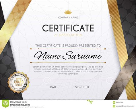 design graduation certificate certificate template with golden decoration element
