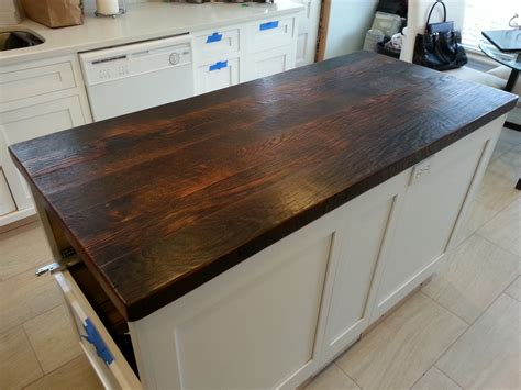 reclaimed wood countertop dark walnut i want to use my attic floor boards and do this for my new