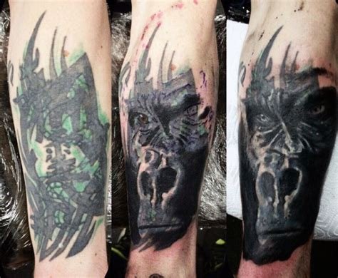 tattoo cover up forearm 100 gorilla tattoo designs for men great ape ideas