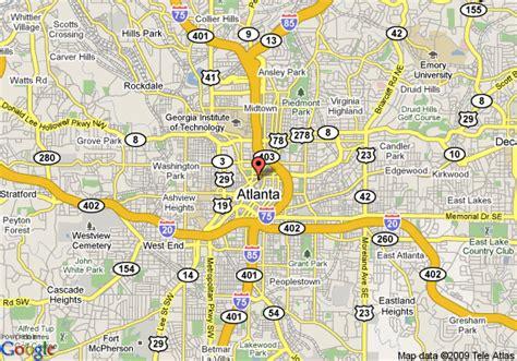 street map of downtown atlanta georgia map of hton inn and suites atlanta downtown atlanta