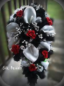 Red Black And White Wedding Bridal Bouquet Silk Wedding Flowers Black Red White Silver