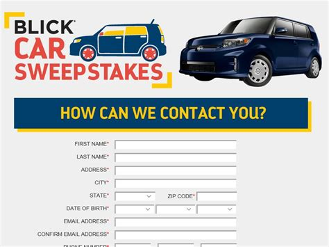 Cars 3 Sweepstakes - blick car sweepstakes