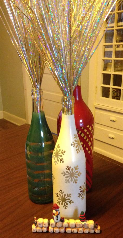 wine bottles decorated with glass painted wine bottles crafty ideas