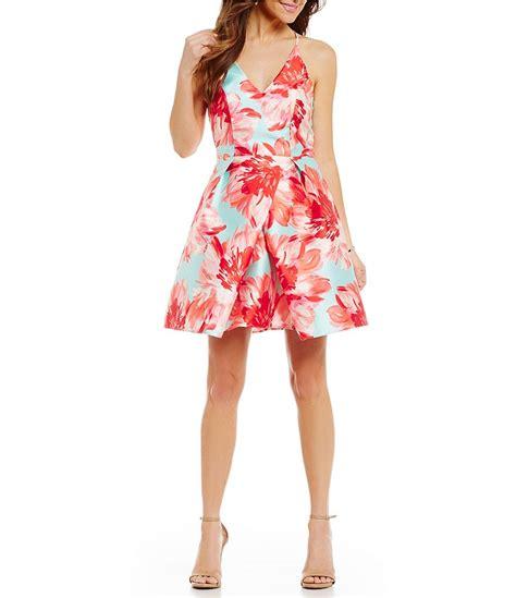 Dic14451 Sf Floral Dress i n san francisco floral print envelope hem swing dress dillards