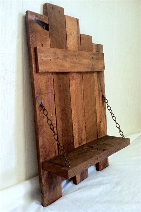 rustic chain shelf handmade reclaimed pallet wood home