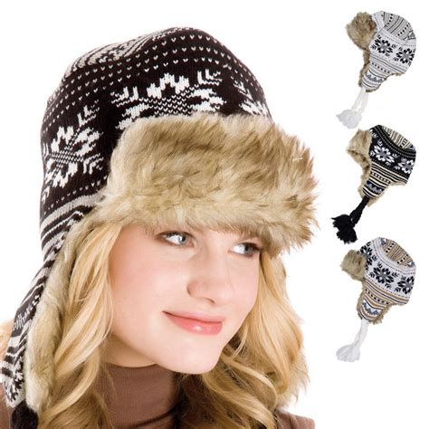 knitted fair isle snowflake patterned trapper hat
