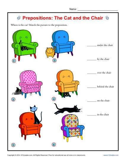 Prepositions Worksheet by Prepositions The Cat And The Chair Prepositional Phrase