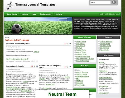 jomla template free joomla 1 5 x templates football fan by themza