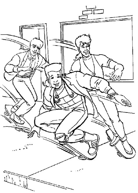 skateboarding boys coloring page