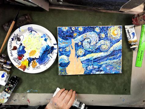 watercolor tutorial starry night step by step van gogh s starry night acrylic painting