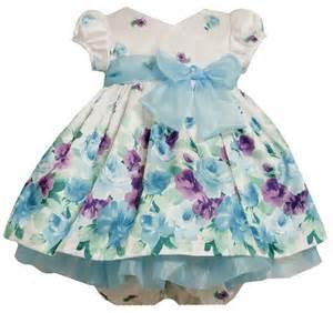 Bonnie baby girls newborn border print shantung dress baby clothes