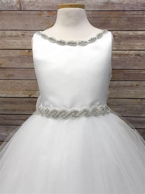 white satin tulle dress w gem neckline belt