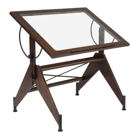 Table Top Drafting Table Aries Clear Tempered Glass And Wood Drafting Table Walnut 13310 By Studio Designs Inc