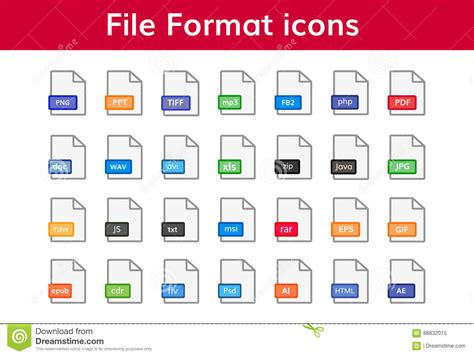 format file types file format icon big set stock vector image of download