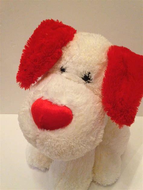 valentines big stuffed animals walmart white puppy nose plush
