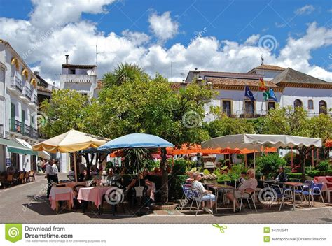 Marbela Square pavement cafes orange square marbella editorial photo image 34292541
