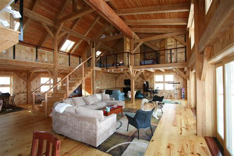 pole barn home interior mortise tenon joined barn timber frame