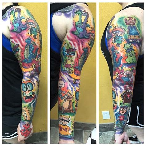 cartoon tattoo arm sleeve tattoo of cartoons carachters tattoo sleeves