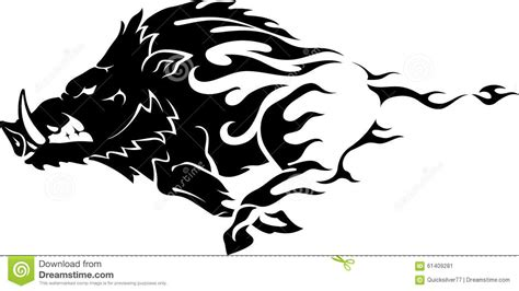 wild boar flame stock vector image 61409281