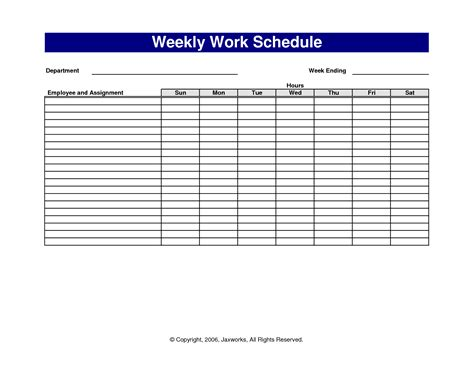 Free Printable Weekly Work Schedule Template 6 best images of free printable office forms schedules