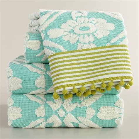 aqua towels bathroom aqua sculpted geo daisy bath towel collection world market