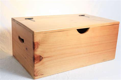 storage box wooden large flat top hinged lid