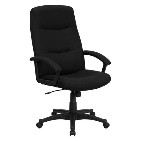 high swivel chair flash furniture high back black fabric executive swivel office chair bt134abk the home depot
