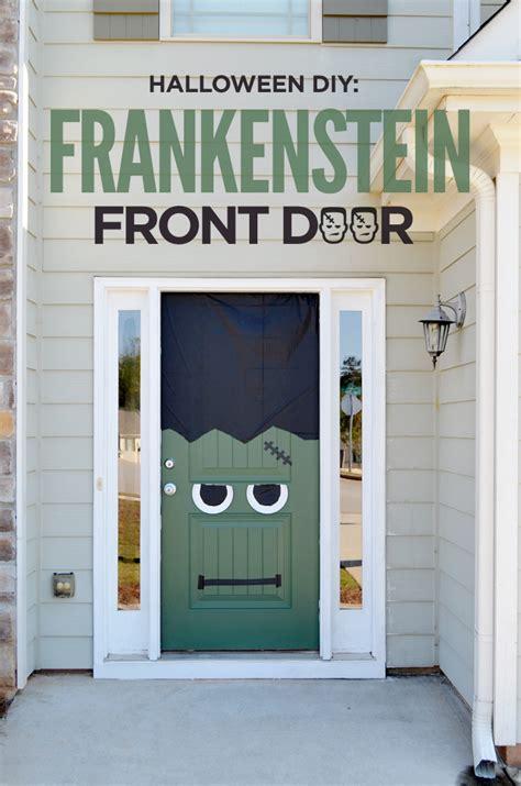 diy frankenstein front door pumpkin