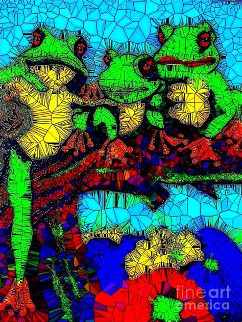 Family Frog Limited frog family glass mosaic painting by saundra myles