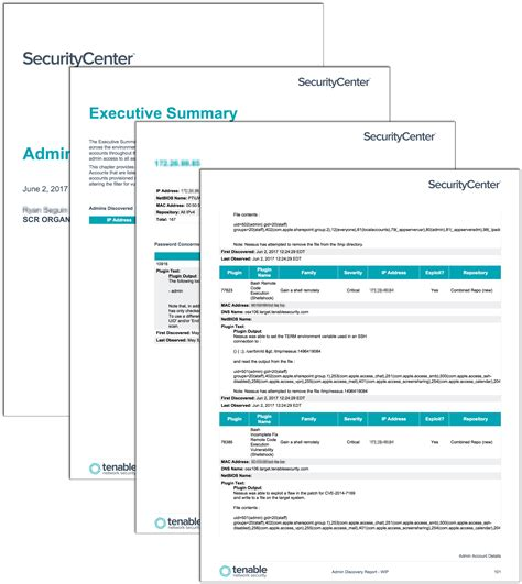 admin discovery report sc report template tenable