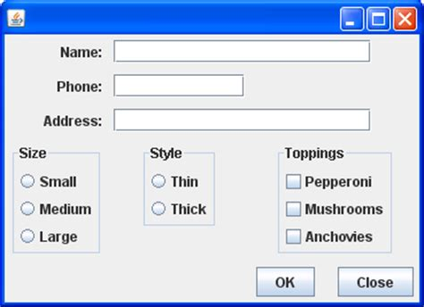 java swing layout a gridbaglayout exle weightx weighty