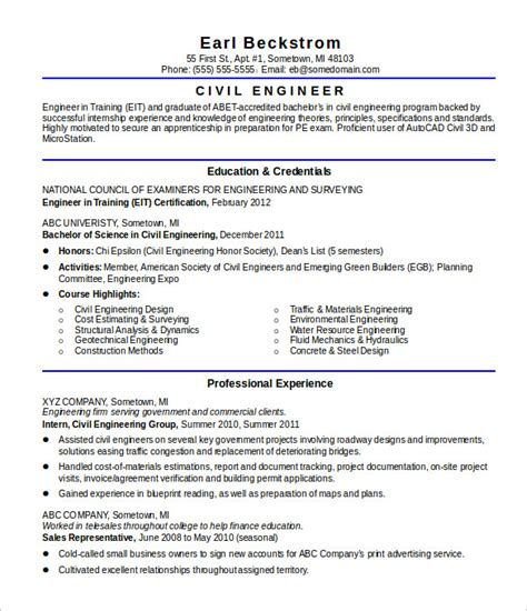 Resume Sles For Freshers Engineers In Civil 16 Civil Engineer Resume Templates Free Sles Psd Exle Format Free