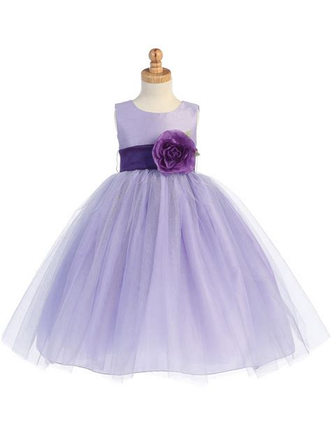 design flower girl dresses blossom lilac poly silk bodice tulle skirt dress w