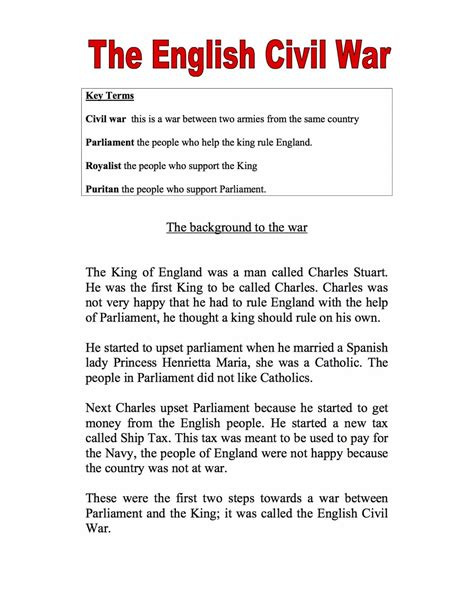 Weapons Of The Civil War Essay by Civil Wars Worksheets Ks3 Ks4 Lesson Resources