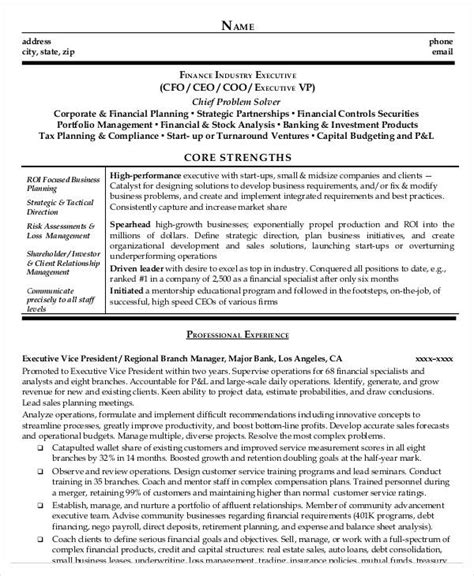 cfo sle resumes vp finance resume exles 28 images finance resume and