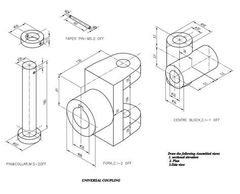 Flange Coupling Drawing Pdf machine drawing universal coupling