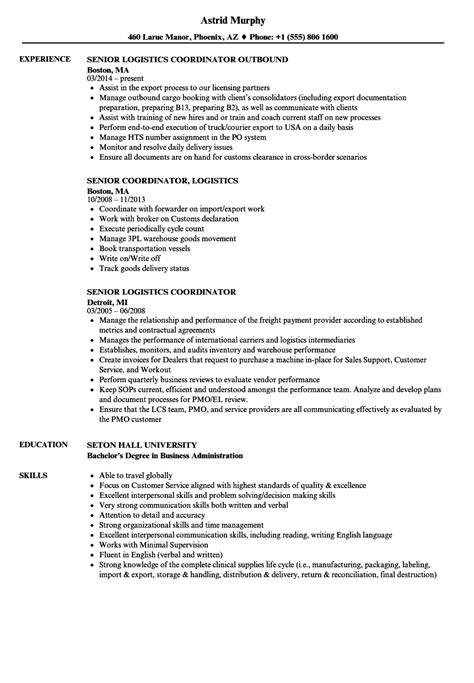 Senior Project Manager Resume Sle by Sle Resumes For Logistics Coordinator Logistics