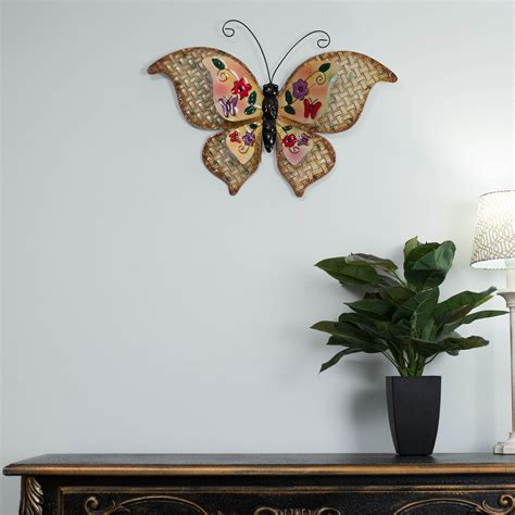 garden metal wall butterfly wrought iron metal wall yellow butterfly vintage