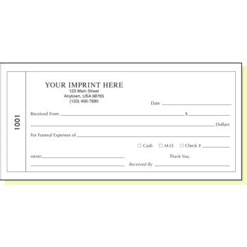 funeral receipt template 2 part funeral receipt book with memo line hd supply