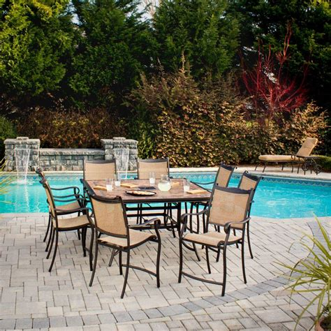 High Patio Dining Sets Hton Bay Westbury 9 Patio High Dining Set S9 Adq27112 The Home Depot