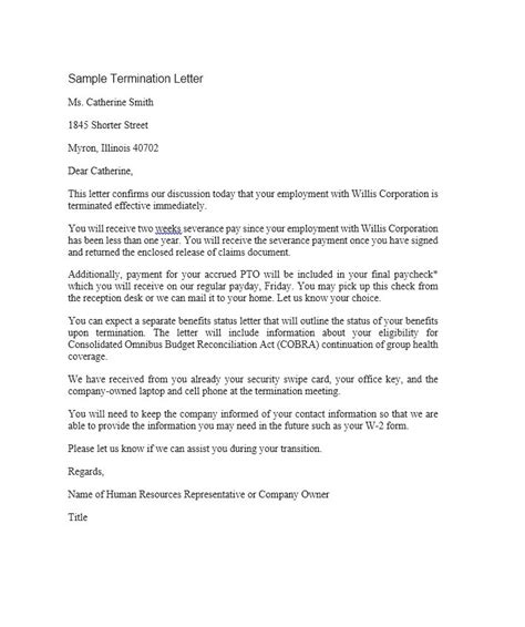 Termination Letter Template At Will 35 Termination Letter Sles Lease Employee Contract