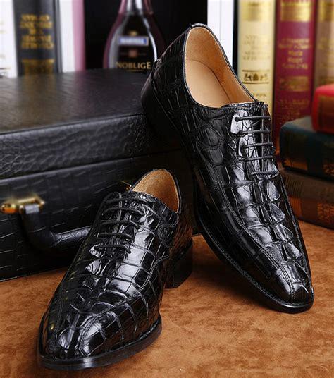 Alligator Shoes Black Color For Brucegao Shoes In Color Black