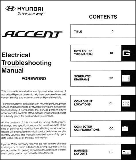 2007 hyundai accent electrical troubleshooting manual original