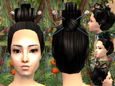 geisha hairstyles mod the sims geisha hairstyle by request